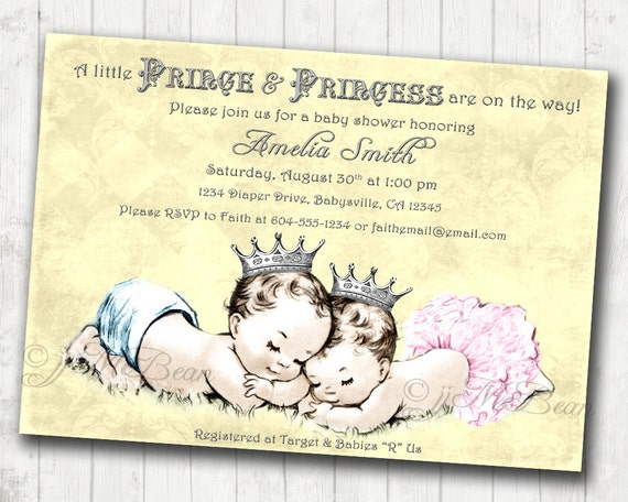 Twins baby shower invitation boy girl twins vintage filmwisefo Image collections