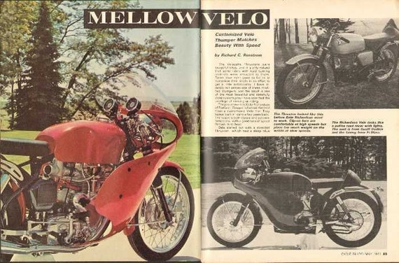 1971 Velocette Thruxton Thumper Custom Motorcycle 4-Page Photo Article #nby08