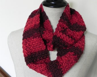 Crochet infinity scarf in shades of red, crochet cowl scarf #494 is ready to ship comes in a cotton gift bag