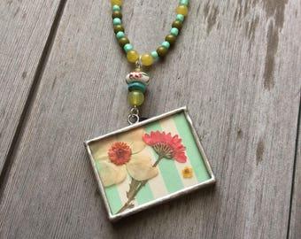 Pressed Flower Beaded Necklace/Garden/Boho/Kind