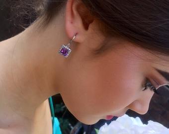 Hannah | Purple bridesmaid earrings, prom earrings, wedding earrings, crystal earrings, square earrings, drop earrings, jewellery