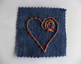 Love, Valentines day gift, Sew on Patch, Fabric Patch, Hippie Patch, Heart patch,Denim Patch,Hand Stitched Patch,Hand Embroidered Patch