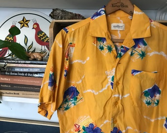 Vintage Aloha Shirt / Rayon / Womens / Mens / Tiki / Small / 80's / 1980's / Hibiscus / Blue Yellow / Button Up / Cool n Breezy /