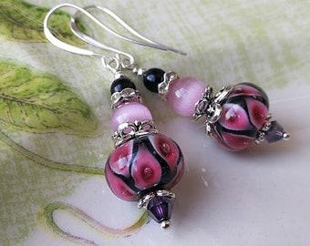 Lampwork Earrings Glass Earrings Purple Earrings Abstract Earrings Bright Earrings Glass Bead Earrings