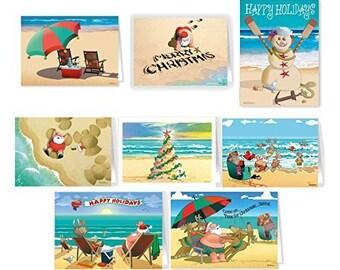 Beach Christmas Card Variety Pack - 24 Cards & Envelopes - Assortment #1 - 81