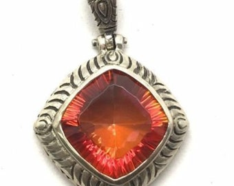 Amazing Fire Mystic Quartz Pendant - Squared shaped - Red / Orange / Tangerine Color - Sterling Silver Jewelry for Necklace