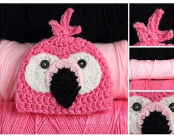 Crochet Pink FlamingoHat- Newborn, Infant, Toddler, Youth, and Adult Sizes