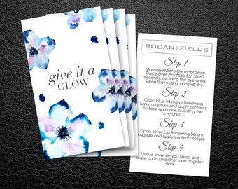 Rodan and Fields Mini Facial Cards | Rodan + Fields Facial Instruction | Give it a Glow | RF Cards | R and F Mini-Facial Card |