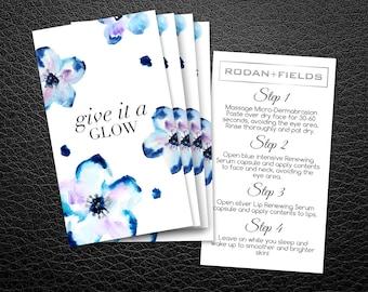 Rodan and Fields Mini Facial Cards | Rodan + Fields Facial Instruction | Give it a Glow | RF Cards | R and F Mini-Facial Card |