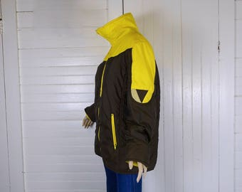 Early 80s Puffy Jacket- 1980s Vintage Brown & Yellow Ski Jacket New Wave- Men's Medium- Stand Up Collar, Puffer, Triangle / Geometric Design