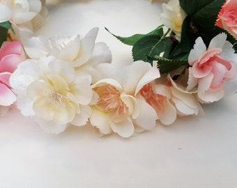 Peach and Plum Blossom Flower Crown