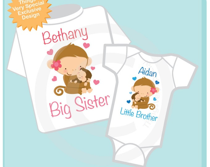 Set of Two Big Sister and Little Brother Shirt and Onesie or Two Shirt set personalized with names (02162013a)