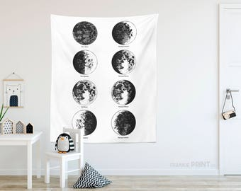 Moon Phases Tapestry   Lunar Phases Print, Moon Phases Wall Art, Space Wall  Tapestry