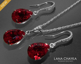 Red Crystal Jewelry Set Wedding Dark Red Earrings&Necklace Set Swarovski Rhinestone Sterling Silver Jewelry Set Bridesmaids Bridal Jewelry