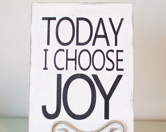 Today I choose JOY wooden sign / joy wooden sign / choose joy wooden sign decor / black and white wooden joy sign