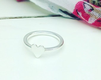 Silver Heart Stackable Ring, Sterling Silver Heart Ring, Stackable Heart Ring, Heart Stacking Ring, Heart Ring, Simple Modern Ring