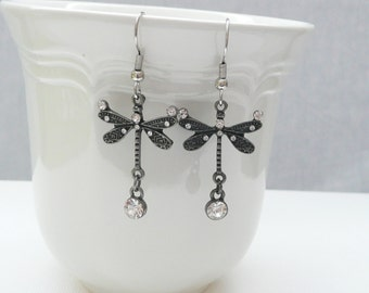 nd-Antique Silver Dragonfly Dangle Earrings