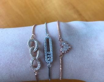 Adjustable Thin Charm Bracelet