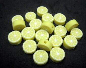 20 Fimo Polymer Clay Fruit Beads 10mm Yellow Lemon