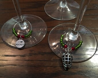 MN Wild Hockey Wine Glass Charms - Handmade Stemware Charms