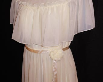 Vintage 70s Maxi Chiffon Dress Ivory Ruffle 4 S Romantic Party Modest Wedding Prom