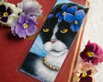 Tuxedo Cat Bookmark, Violet Flower Cat Art Bookmark