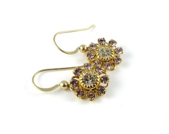 Spring Garden Earrings made with 14kt gold filled earwires and Swarovski flowers LIGHT PURPLE