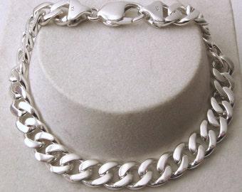 Genuine SOLID 925 STERLING SILVER Unisex Flat Curb Bracelet 21 cm