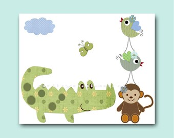 Baby Shower Gift Baby Nursery Decor Art for Children Kids Wall Art Baby Boy Room Decor Boy Nursery Print Crocodile Monkey Bird Green
