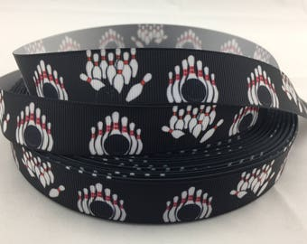 "Bowling Grosgrain Ribbons, bowler ribbons, bowling ribbons, Available in 5/8"" or 7/8"""