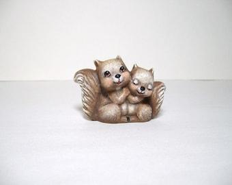 Squirrels, ceramic miniature squirrels