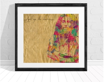 Bob Marley Light up the Darkness Quote Print