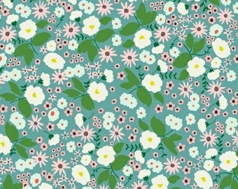 Packed Floral in Teal from Maribel by Annabel Wrigley- 1/2 yard