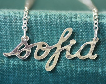 Handmade personalised silver necklace (5-7 letters)