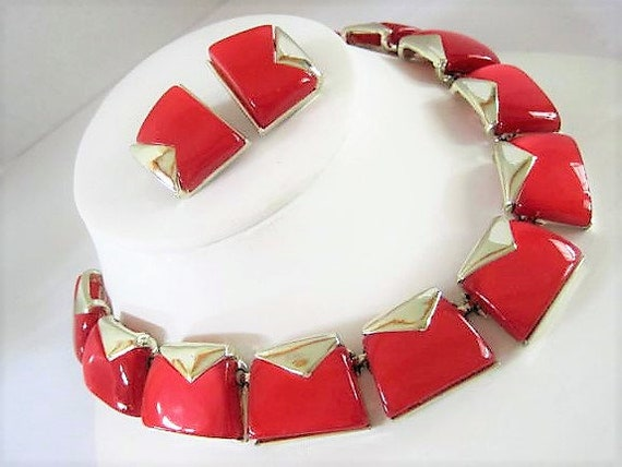 Red Charel Necklace Set, Lucite Thermoset, Vintage Necklace Earrings