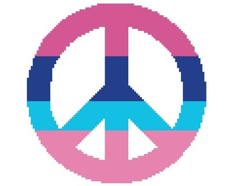 Peace Sign Cross Stitch Pattern, Hippie Peace Cross-Stitch Pattern PDF Download, Pink and Blue