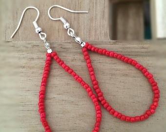 Red Earrings, Tear Drop Earrings, Loop Earrings, Dangle Earrings, Red Seed Beads Earrings, Festival Earrings, Boho Jewelry, Gift Idea