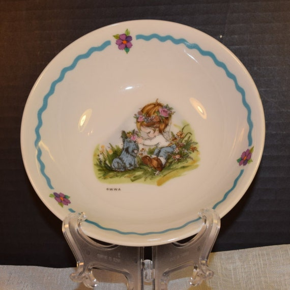 Child's Bowl Girl with Dog Vintage Table Talk Kids Serving Bowl WWA Made in Japan Children Dinnerware Little Girl with Scottie Dog Dish