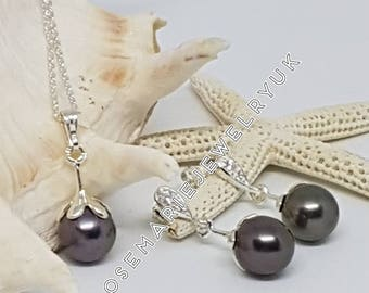 Sterling Silver Tahitian Pearl Necklace And Earring Set