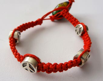 All Natural Red Hemp Bracelet w/ Peace Sign Charms