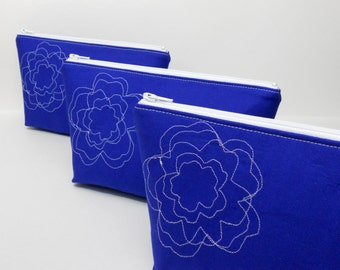 Small Makeup Bag, Navy Blue with Flower Embossing, Flower Makeup Bag, Blue Makeup Bag, White Flower Makeup Bag, Navy Blue Makeup Bag
