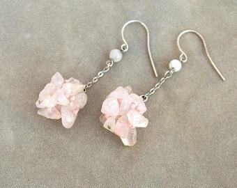 Rose quartz dangles earrings Pink earrings Beaded bead earrings Pink cluster earrings Rose quartz cluster earrings E751