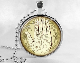 Palmistry Necklace Art Pendant Jewelry Palm Reader Reading Jewelry Hand Reader Gypsy Fortune Teller Occult Chirology Chirologist