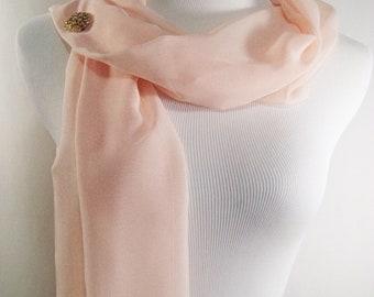 Bridal Scarf - Soft Peach Scarf - Peach Bridesmaid Scarf - Evening Wrap - Extra Long Soft Peach Silky Chiffon - Wedding Wrap