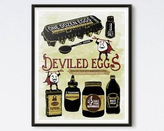 Illustrated Recipe - Deviled Eggs - Kitchen Print - Art Prints - Recipe Art - Kitchen Art - Food Art - Food Illustration - Illustration