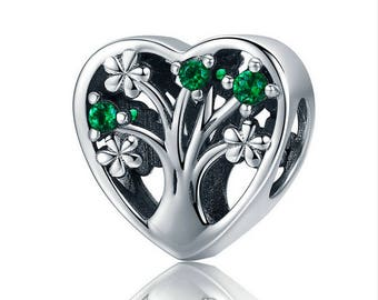 Tree of life heart-shaped bead with green CZ bead charm 100% 925 Sterling Silver fit for Authentic pandora and european bracelets