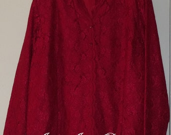 Red Lace Shirt Jacket by Karen Scott II®