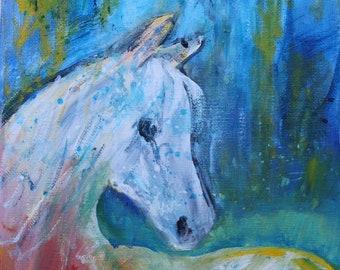 Rainstorm.  Original acrylic horse painting.