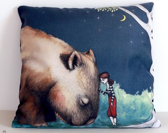Giant Wombat and Girl cushion cover. Decorative pillow. Velvet. Illustration. Australian gift with original art by flossy-p