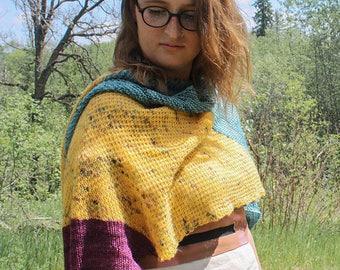 Knitting PATTERN Aura Shawl Poncho Shrug Cowl Scarf Wrap Capelet
